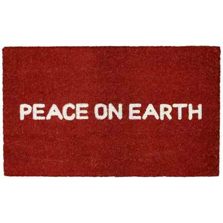 "Momeni Peace On Earth Doormat - 18x30"" in Red - Closeouts"