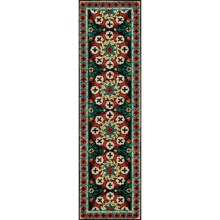 "Momeni Suzani Hook Collection Floor Runner - 2'3""x8', Wool in Black Medallion - Closeouts"