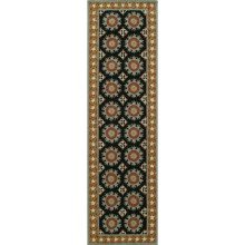 "Momeni Suzani Hook Collection Floor Runner - 2'3""x8', Wool in Black - Closeouts"