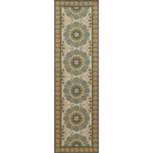 "Momeni Suzani Hook Collection Floor Runner - 2'3""x8', Wool in Blue Medallion - Closeouts"
