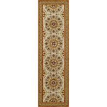 "Momeni Suzani Hook Collection Floor Runner - 2'3""x8', Wool in Red Medallion - Closeouts"