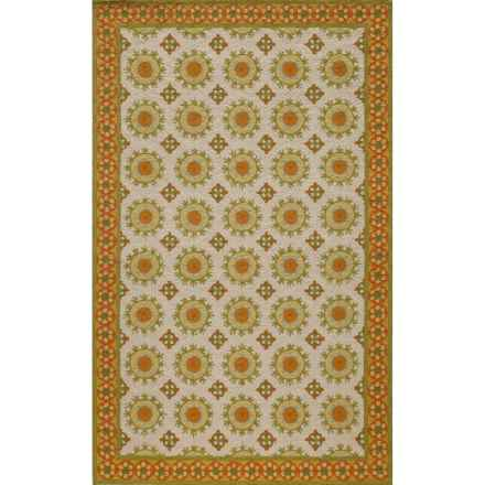 "Momeni Suzani Hook Collection Wool Accent Rug - 3'6""x5'6"" in Ivory - Closeouts"