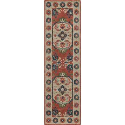 "Momeni Tangier Collection Floor Runner - 2'3""x8', Hand-Hooked Wool in Ivory Aztec Medallion - Closeouts"
