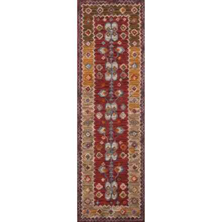 "Momeni Tangier Collection Floor Runner - 2'3""x8', Hand-Hooked Wool in Red Border - Closeouts"