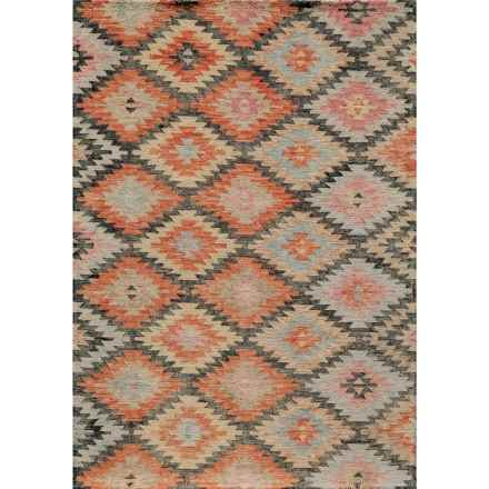 MOMENI TANGIER COLLECTION HAND HOOKED WOOL AREA RUG - 5'X8' in Black/Yellow Diamond - Closeouts