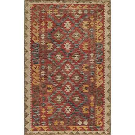 MOMENI TANGIER COLLECTION HAND HOOKED WOOL AREA RUG - 5'X8' in Red Diamond - Closeouts