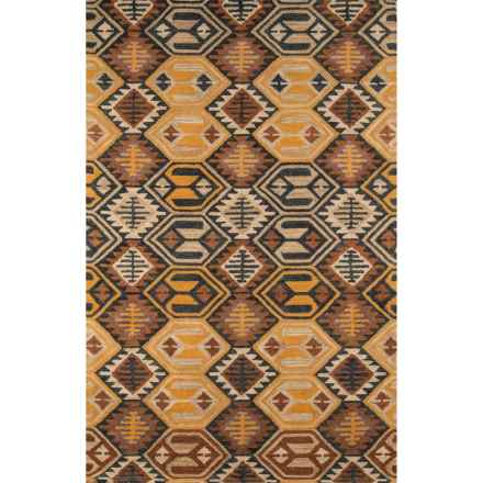 "Momeni Tangier Hand-Hooked Wool Accent Rug - 3'6""x5'6"" in Black/Orange Diamond - Closeouts"