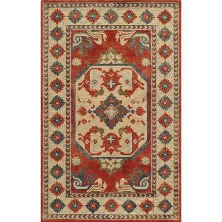 """Momeni Tangier Hand-Hooked Wool Accent Rug - 3'6""""x5'6"""" in Ivory Aztec Medallion - Closeouts"""