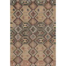 Momeni Tangier Hand-Hooked Wool Area Rug - 5x8' in Black/Orange Diamond - Closeouts