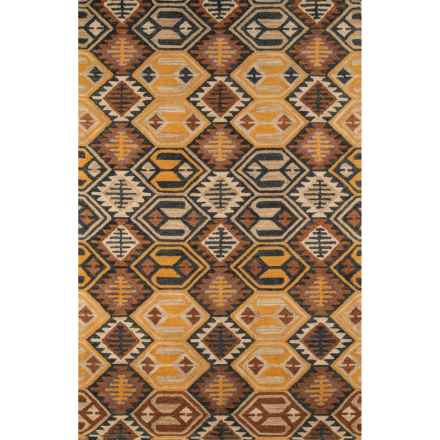 Momeni Tangier Hand-Hooked Wool Area Rug - 8x11' in Black/Orange Diamond - Closeouts