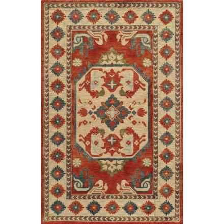 Momeni Tangier Hand-Hooked Wool Area Rug - 8x11' in Ivory Aztec Medallion - Closeouts