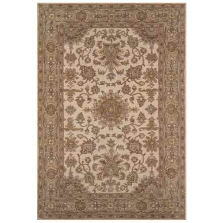 "Momeni Tudor Collection Wool Area Rug - 5'x7'6"" in Beige Medallion - Closeouts"