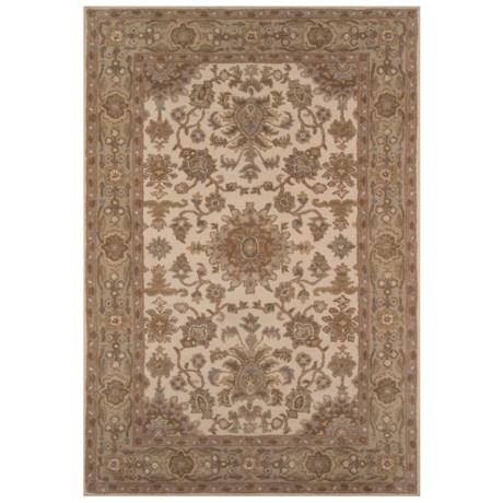"Momeni Tudor Collection Wool Area Rug - 5'x7'6"" in Beige Medallion"