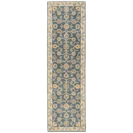 "Momeni Tudor Collection Wool Floor Runner Rug - 2'3""x8' in Grey Medallion - Closeouts"
