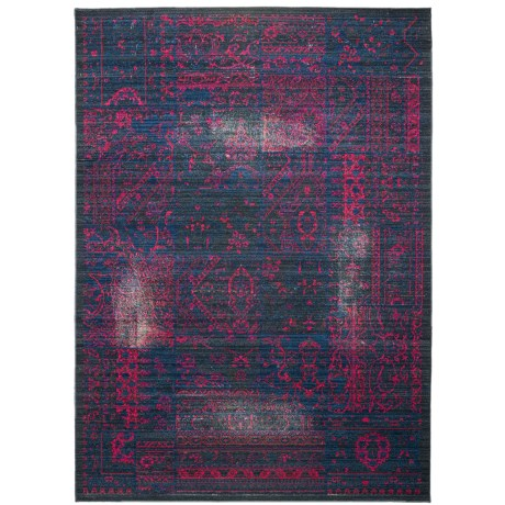 "Momeni Vintage Distressed Area Rug - New Zealand Wool, 5'3""x7'9"" in Blue Raspberry"