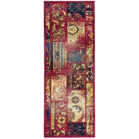 "Momeni Vintage Distressed Floor Runner - New Zealand Wool, 2'7""x7'9"" in Raspberry"