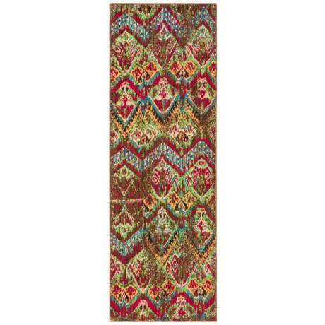 """Momeni Vintage Distressed Floor Runner - New Zealand Wool, 2'7""""x7'9"""" in Vintage-14 Raspberry"""