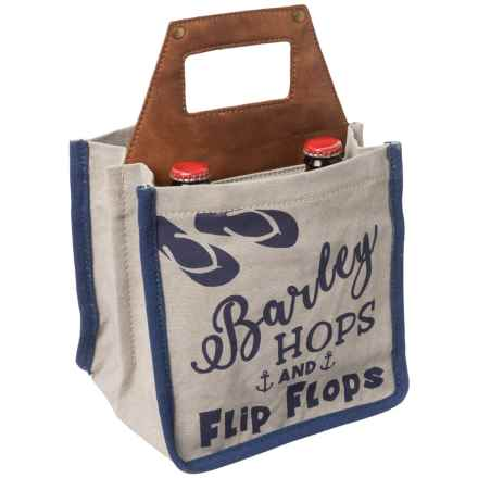 Mona B Barley Hops and Flip Flops Beer Caddy in Natural/Navy - Closeouts