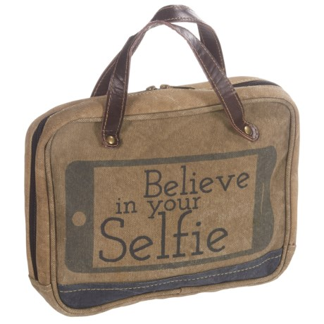Mona B Believe Upcycled Canvas Cosmetic Bag (For Women) in Tan Multi