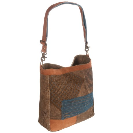 Mona B Chiffon Patch Upcycled Canvas Tote Bag (For Women)