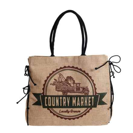 Mona B Country Market Upcycled Burlap Tote Bag (For Women) in Tan - Closeouts