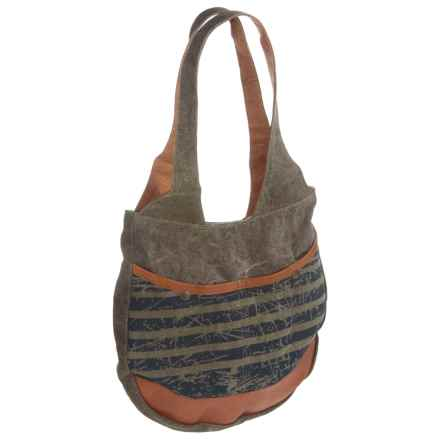 Mona B Easy Rider Upcycled Canvas Shoulder Bag (For Women) in Multi - Closeouts