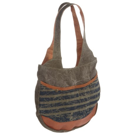 Mona B Easy Rider Upcycled Canvas Shoulder Bag (For Women) in Multi