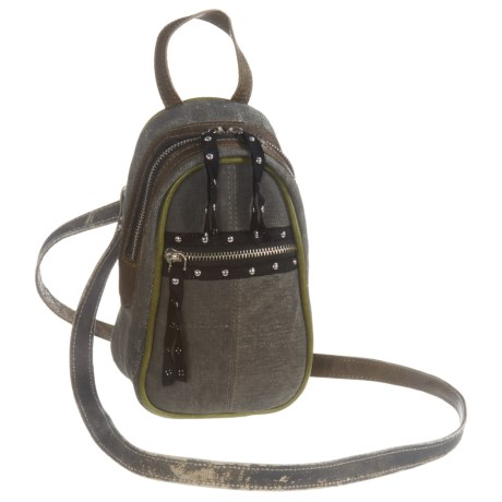 Mona B Forever Young Upcycled Canvas Mini Crossbody Bag (For Women) in Grey