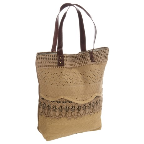 Mona B Lacy Upcycled Canvas Tote Bag (For Women) in Tan