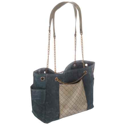 Mona B Milan Upcycled Canvas Shoulder Bag (For Women) in Denim Multi - Closeouts