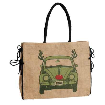 Mona B Rudolph Bug Upcycled Burlap Tote Bag (For Women) in Tan - Closeouts