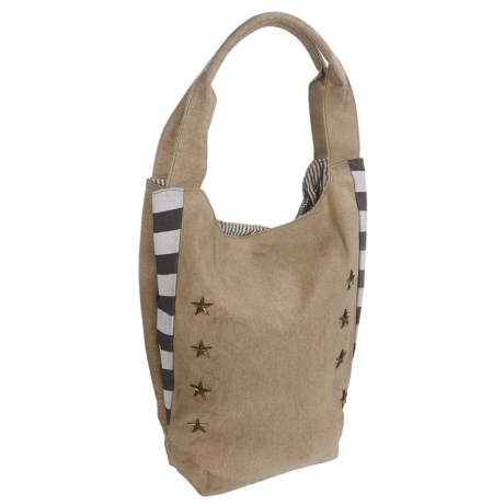 Mona B Star-Studded Upcycled Canvas Tote Bag (For Women) in Tan