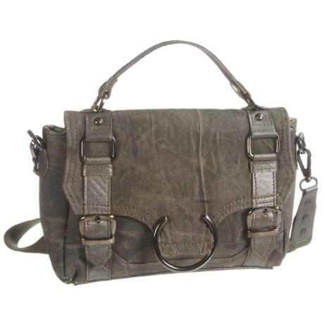 Mona B Vogue Upcycled Canvas Mini Crossbody Bag (For Women) in Grey
