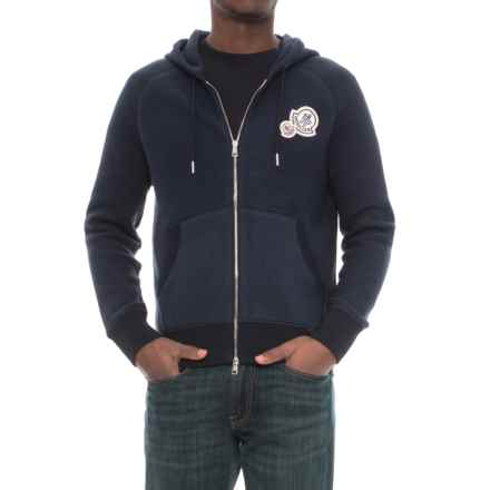 Moncler Varsity Cotton Hoodie - Full Zip (For Men) in Midnight Navy - Closeouts