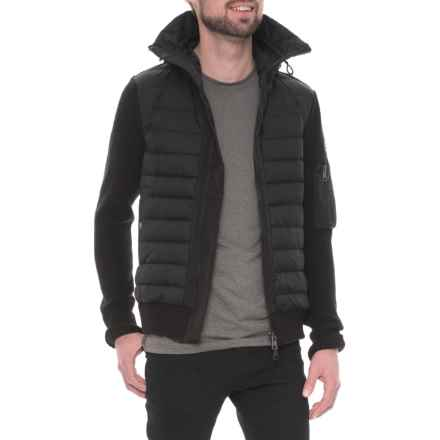 Moncler Wiberlux Mixed Media Hooded Down Jacket (For Men) in Black - Closeouts