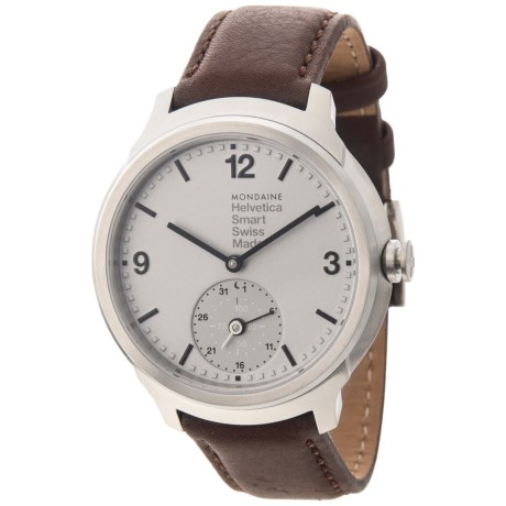 Mondaine Helvetica 1 Swiss Quartz Analog Smart Watch (For Men) in Brown/Silver