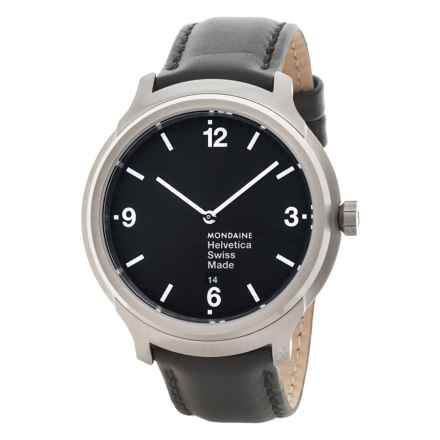Mondaine Helvetica No. 1 Bold Watch - Leather Strap (For Men) in Black/Black - Closeouts