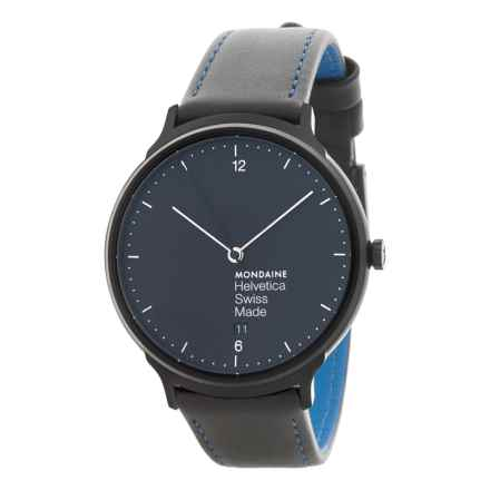 Mondaine Helvetica No.1 New York Edition Watch - Leather Strap (For Men and Women) in Black/Blue - Closeouts