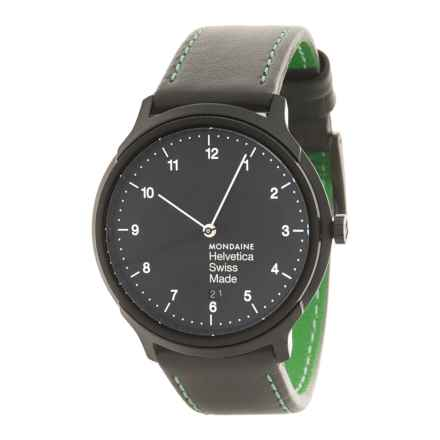 Mondaine Helvetica No.1 New York Edition Watch - Leather Strap (For Men and Women) in Black/Green - Closeouts
