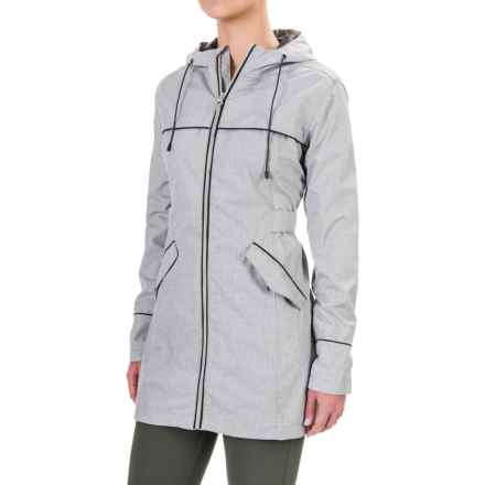 Mondetta Aria Travel Trench Coat (For Women) in Weave Print Grey - Closeouts