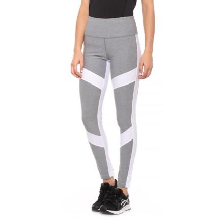 e2c5214a29 Mondetta Arrow Color-Block Melange Leggings (For Women) in Ash Melange/White