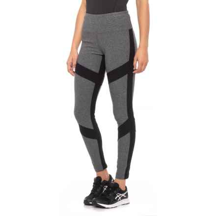 Mondetta Arrow Color-Block Melange Leggings (For Women) in Granite Melange/Black - Closeouts