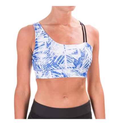 Mondetta Askew Sports Bra - Medium Impact, Padded Cups (For Women) in Palm Print - Closeouts