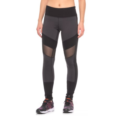 Mondetta Beam Leggings - Semi-Sheer Mesh Insets (For Women) in Black Round Geo