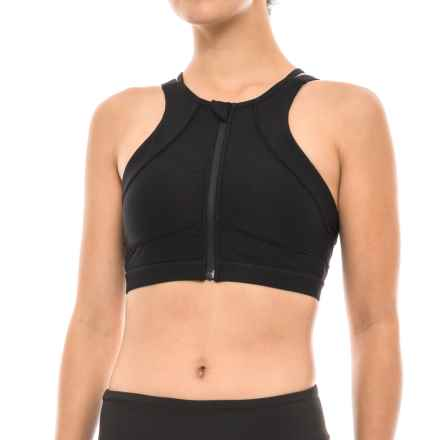 Mondetta Dive High Neck Sports Bra - Front Zip, Removable Padded Cups, Medium Impact (For Women) in 1401 Black - Closeouts