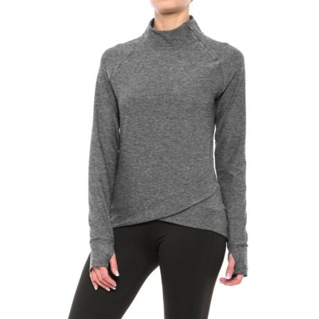 Mondetta Doozie Shirt - Zip Neck, Long Sleeve (For Women) in Granite Melange