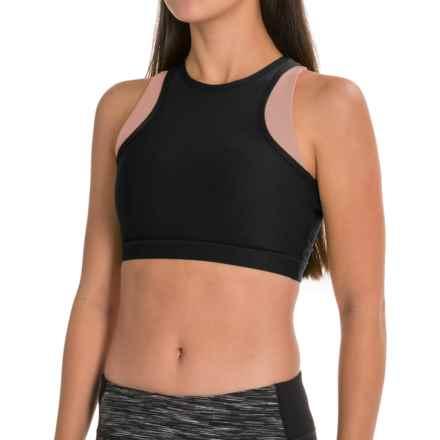 Mondetta Double-Layer Sports Bra - Medium Impact, Racerback (For Women) in Black/White - Closeouts