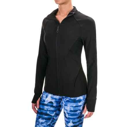 Mondetta Mesh Detail Zip Jacket (For Women) in Black - Closeouts