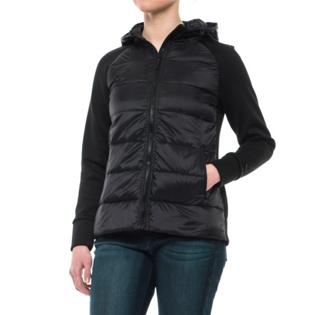 Mondetta Mixed Media Down Jacket (For Women) in Black