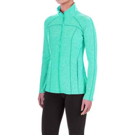 Mondetta Pleat Back Zip Jacket (For Women) in Seaglass Melange - Closeouts